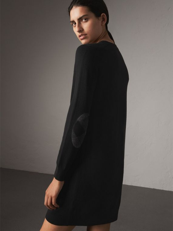 Check Elbow Detail Merino Wool Sweater Dress in Black - Women | Burberry - cell image 2
