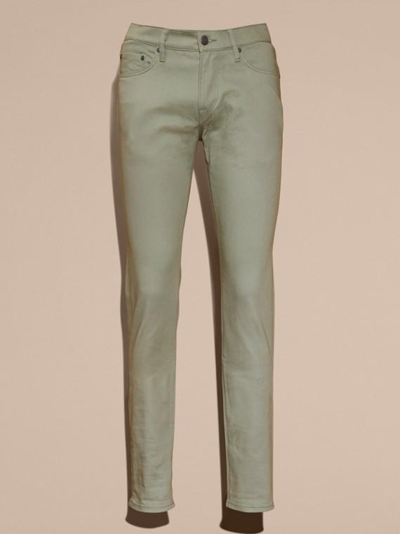 Eukalyptusgrün Körperbetonte Jeans aus japanischem Stretchdenim Eukalyptusgrün - cell image 3