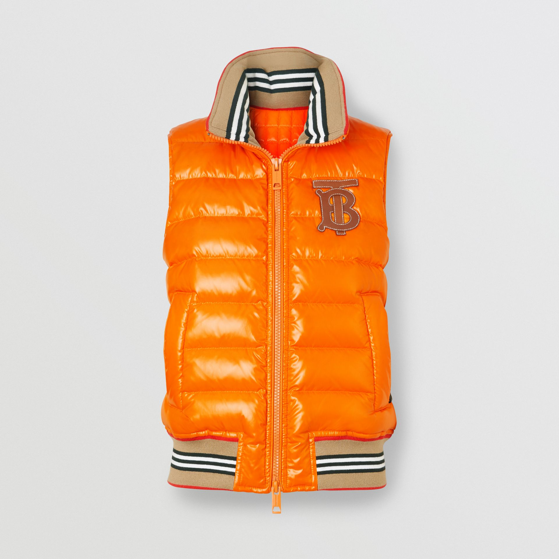 Icon Stripe Detail Down-filled Puffer Gilet in Orange - Women | Burberry - gallery image 3