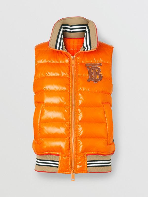 Icon Stripe Detail Down-filled Puffer Gilet in Orange - Women | Burberry - cell image 3