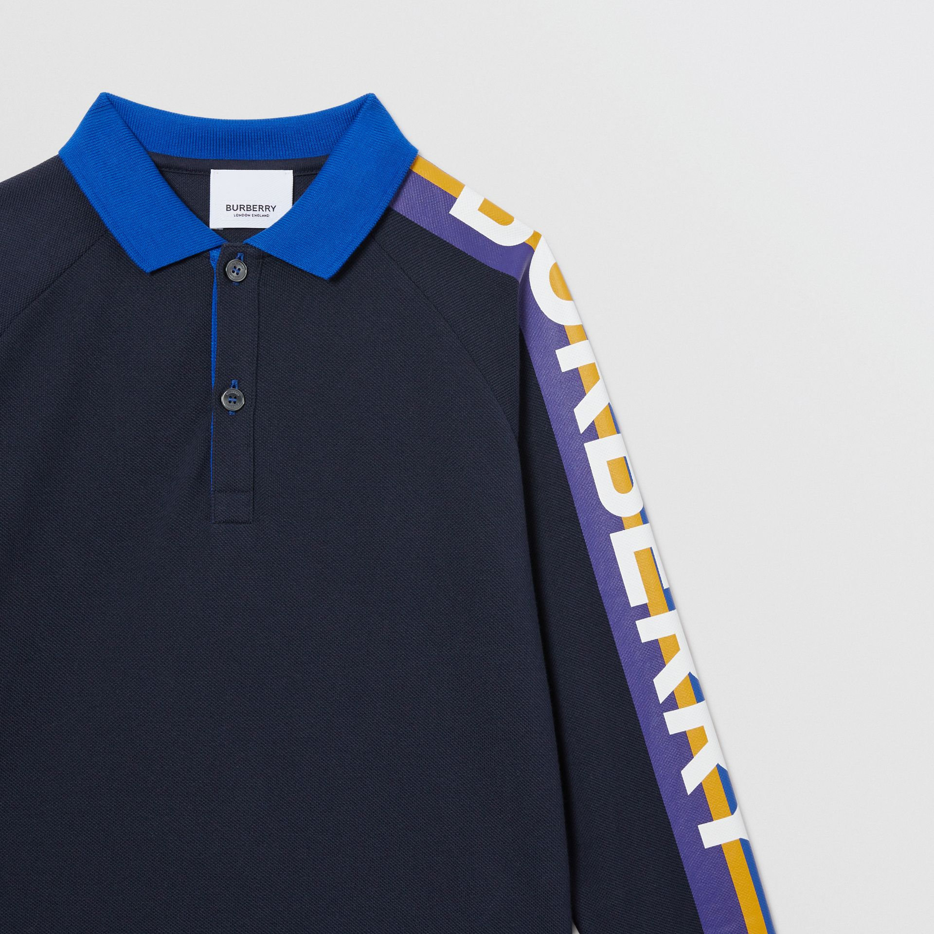 Long-sleeve Logo Print Cotton Polo Shirt in Navy | Burberry Australia - gallery image 3