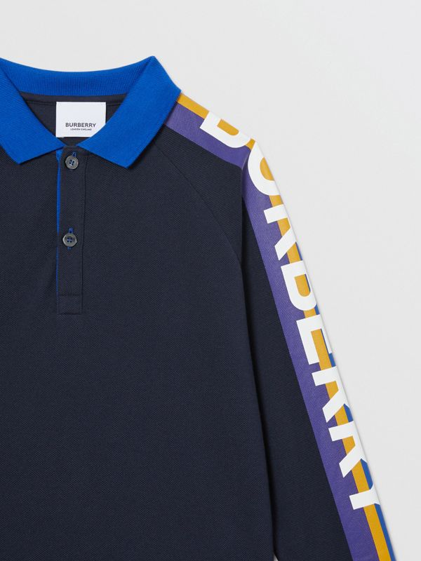 Long-sleeve Logo Print Cotton Polo Shirt in Navy | Burberry - cell image 3