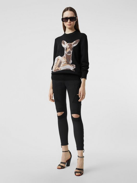 Deer Intarsia Wool Sweater in Black