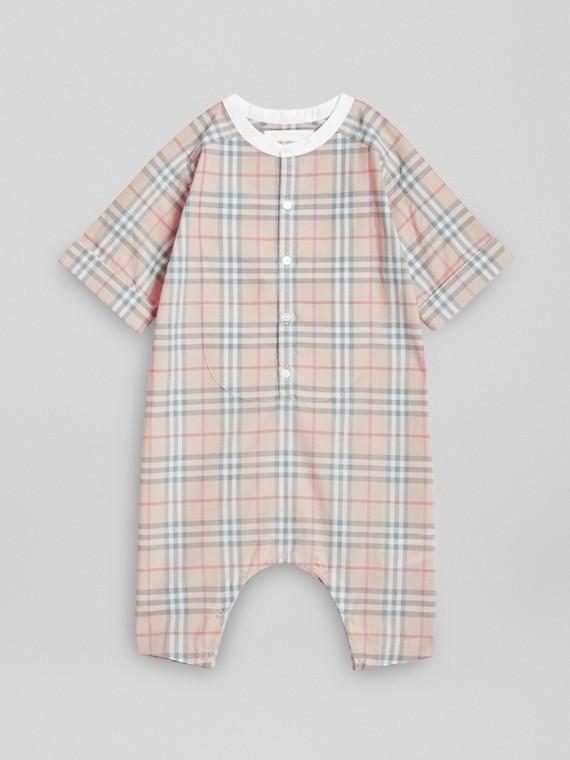 宮廷前襟細節設計格紋棉質連身褲 (淡石色)