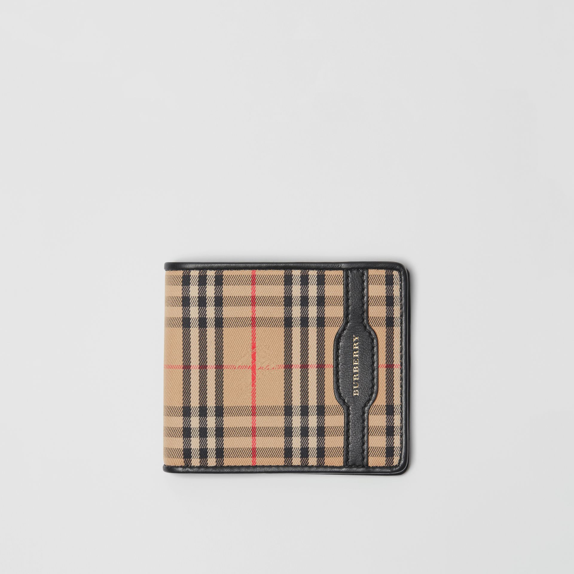 1983 Check and Leather International Bifold Wallet in Black - Men | Burberry Australia - gallery image 0