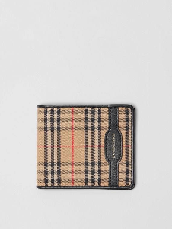 1983 Check and Leather International Bifold Wallet in Black