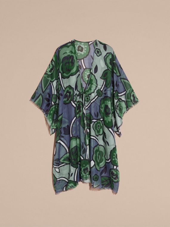 Bright steel blue Floral Print Cotton Kaftan Bright Steel Blue - cell image 3
