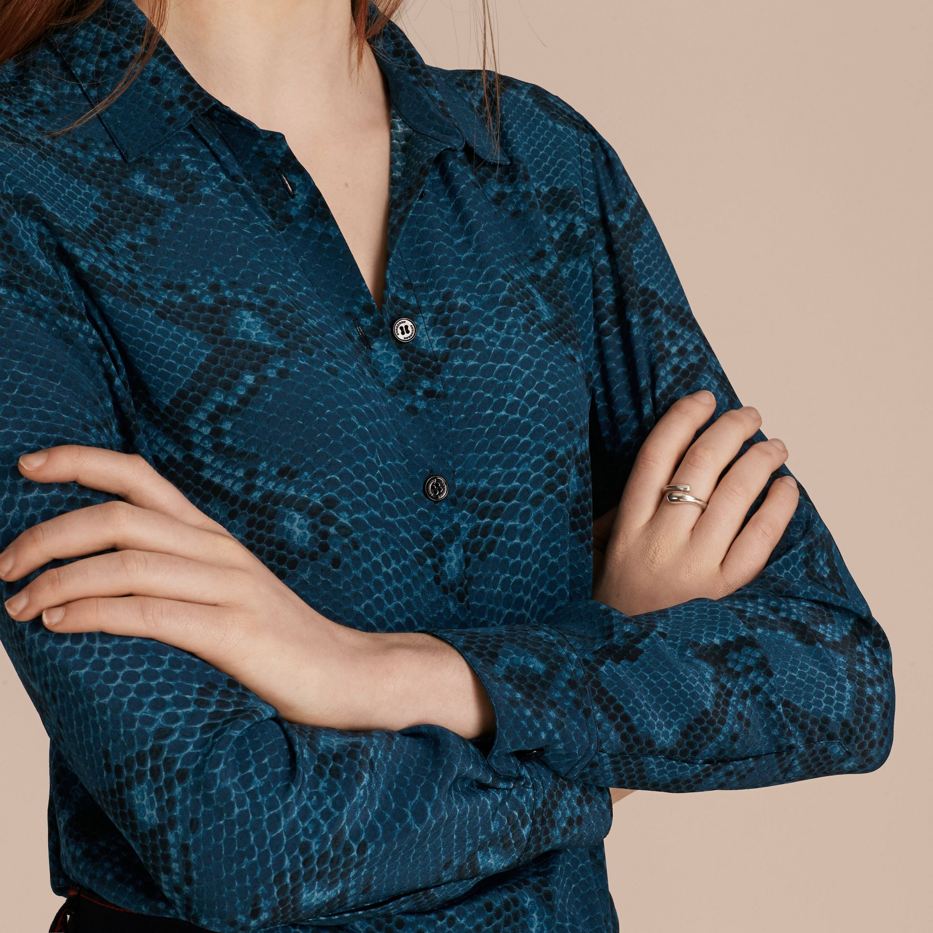 Mineral blue Python Print Silk Shirt - gallery image 5