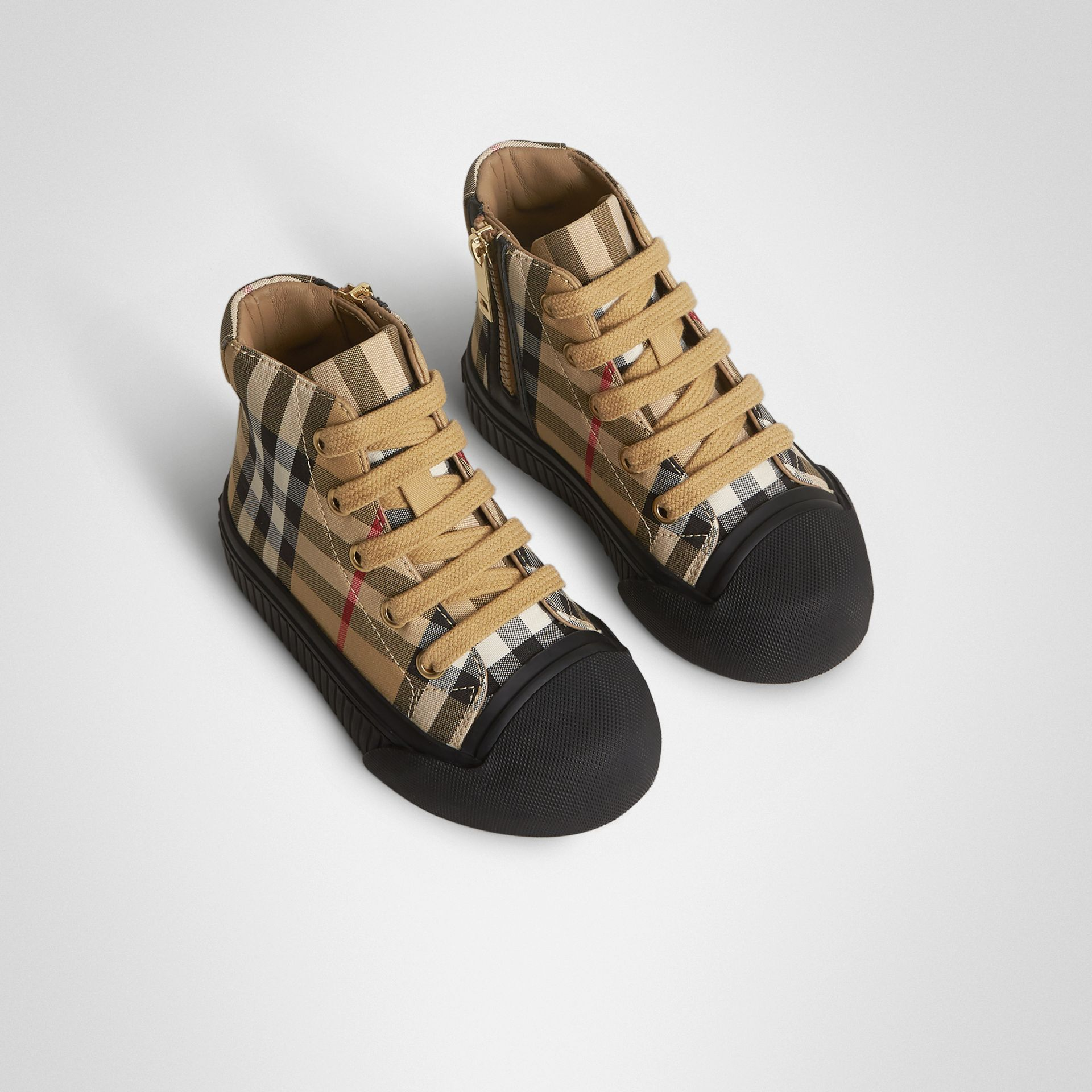 Vintage Check and Leather High-top Sneakers in Antique Yellow/black - Children | Burberry Australia - gallery image 0