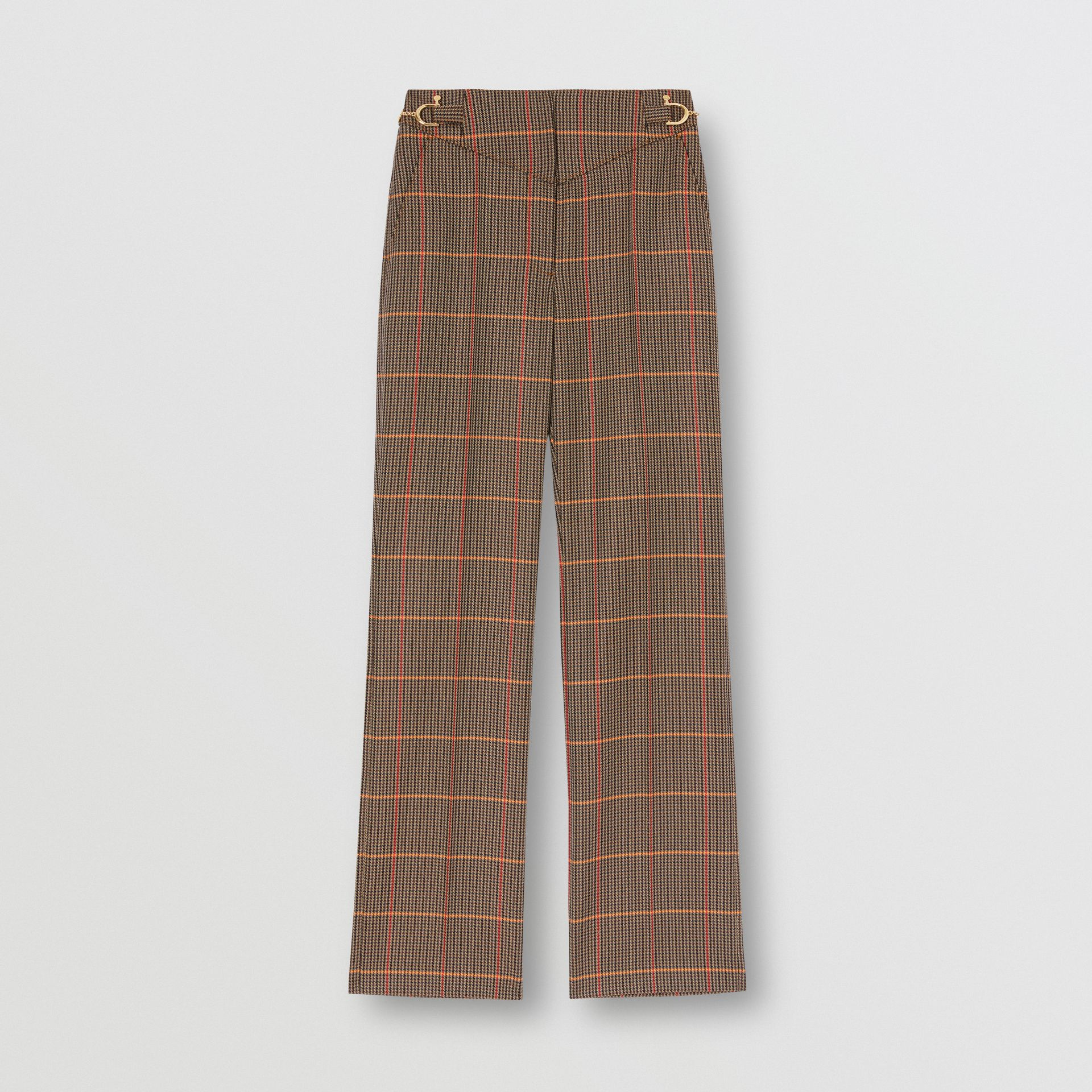 Houndstooth Check Wool Blend Tailored Trousers in Dark Brown - Women | Burberry - gallery image 3