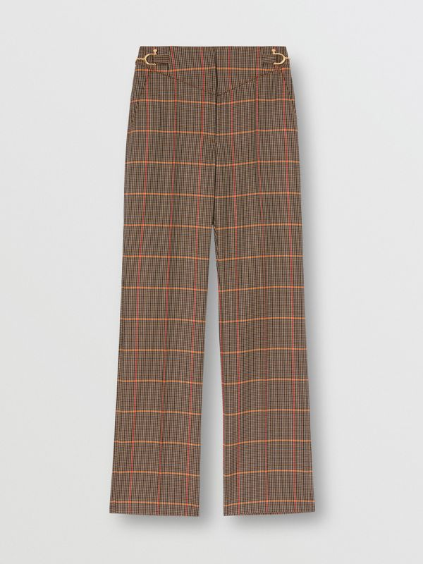 Houndstooth Check Wool Blend Tailored Trousers in Dark Brown - Women | Burberry - cell image 3