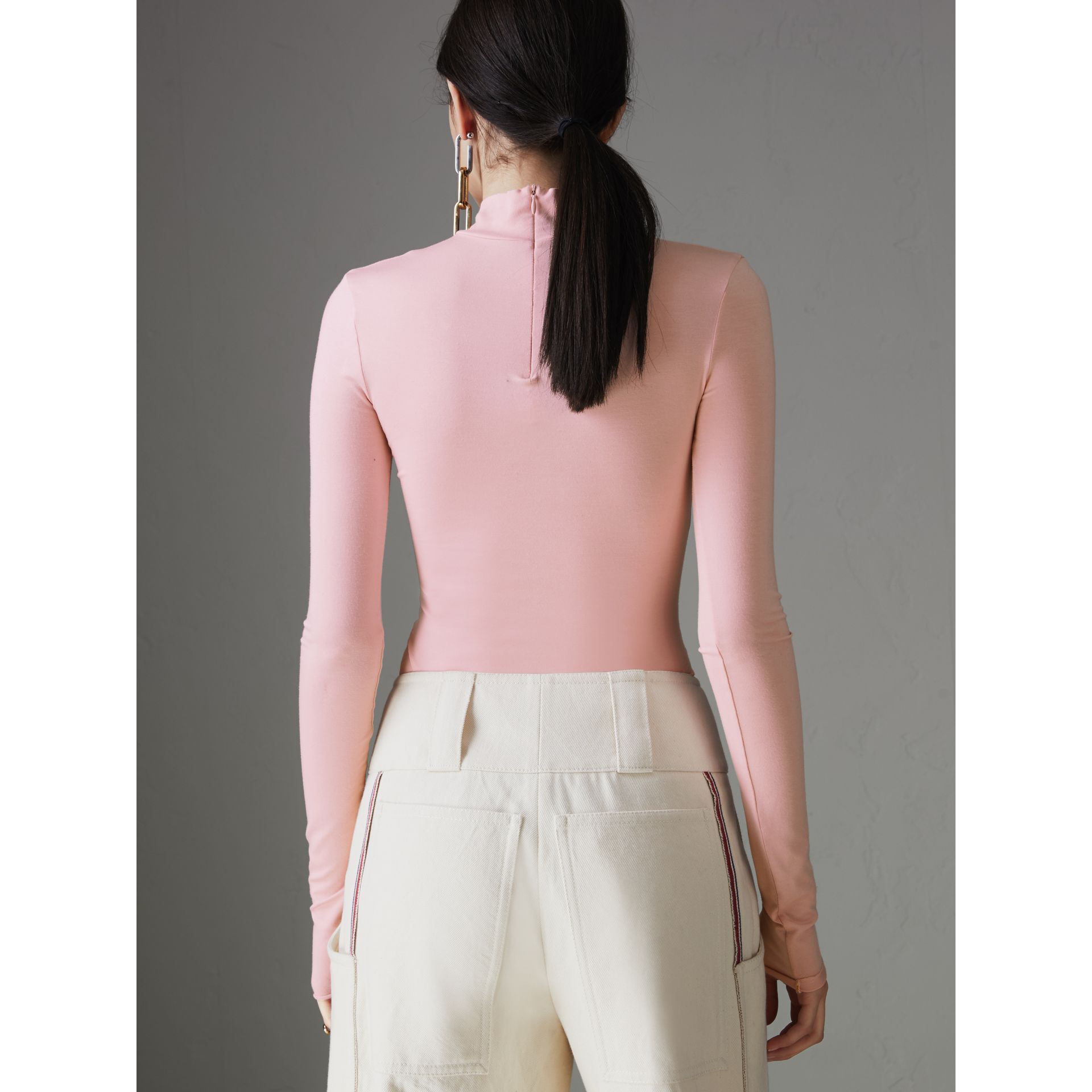 Stretch Modal Silk Turtleneck Top in Light Pink - Women | Burberry Australia - gallery image 2