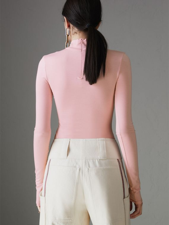 Stretch Modal Silk Turtleneck Top in Light Pink - Women | Burberry Australia - cell image 2