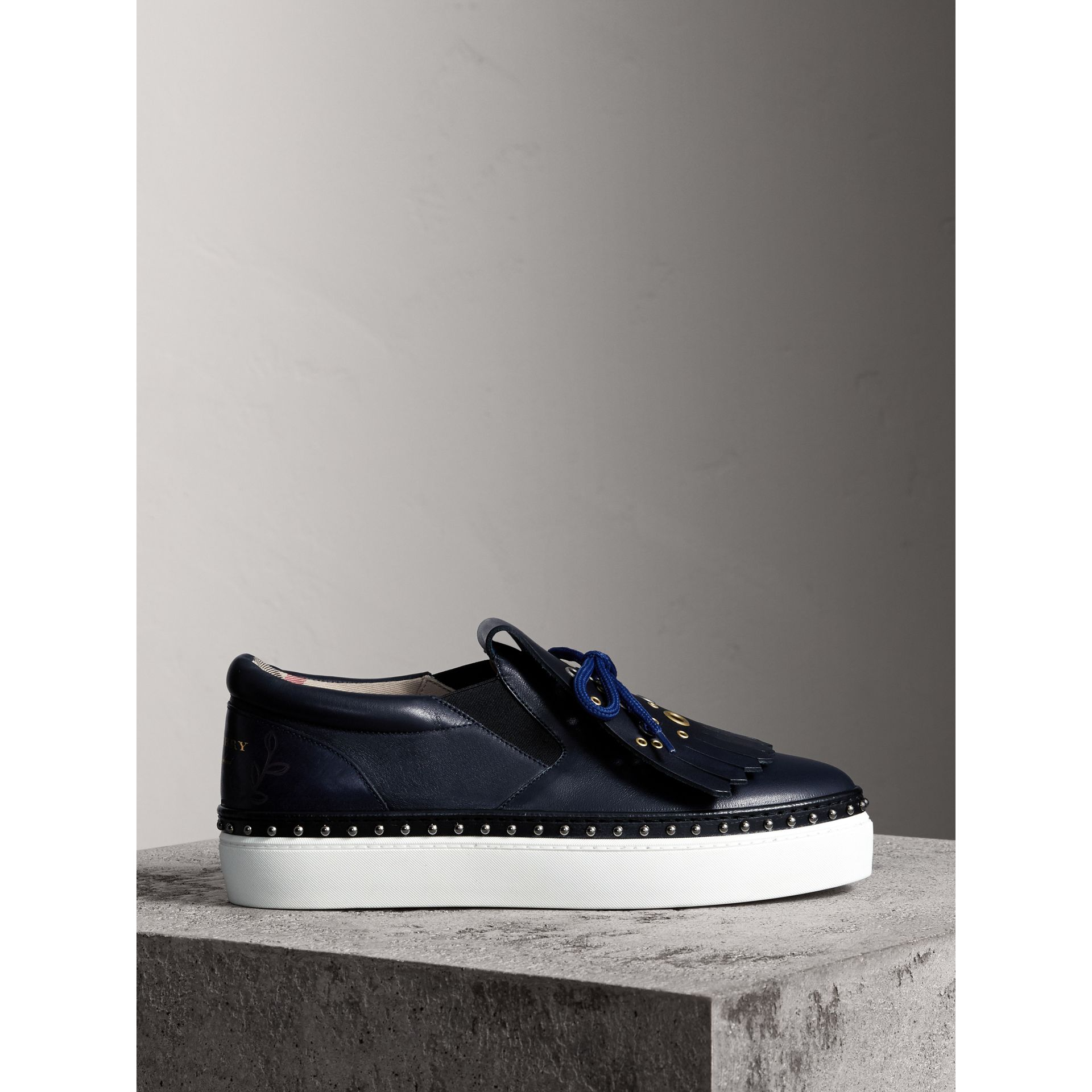 Kiltie Fringe Leather Sneakers in Navy - Women | Burberry - gallery image 4