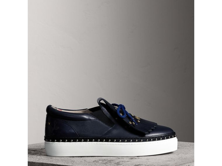 Kiltie Fringe Leather Sneakers in Navy - Women | Burberry Singapore - cell image 4