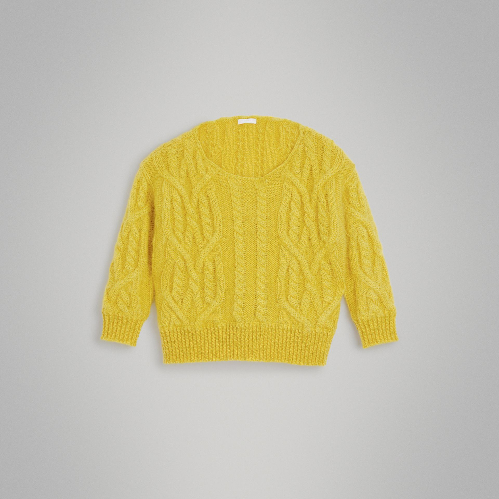Cable Knit Mohair Wool Sweater in Bright Yellow | Burberry - gallery image 0