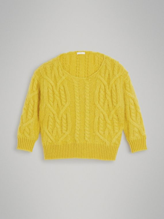 Cable Knit Mohair Wool Sweater in Bright Yellow