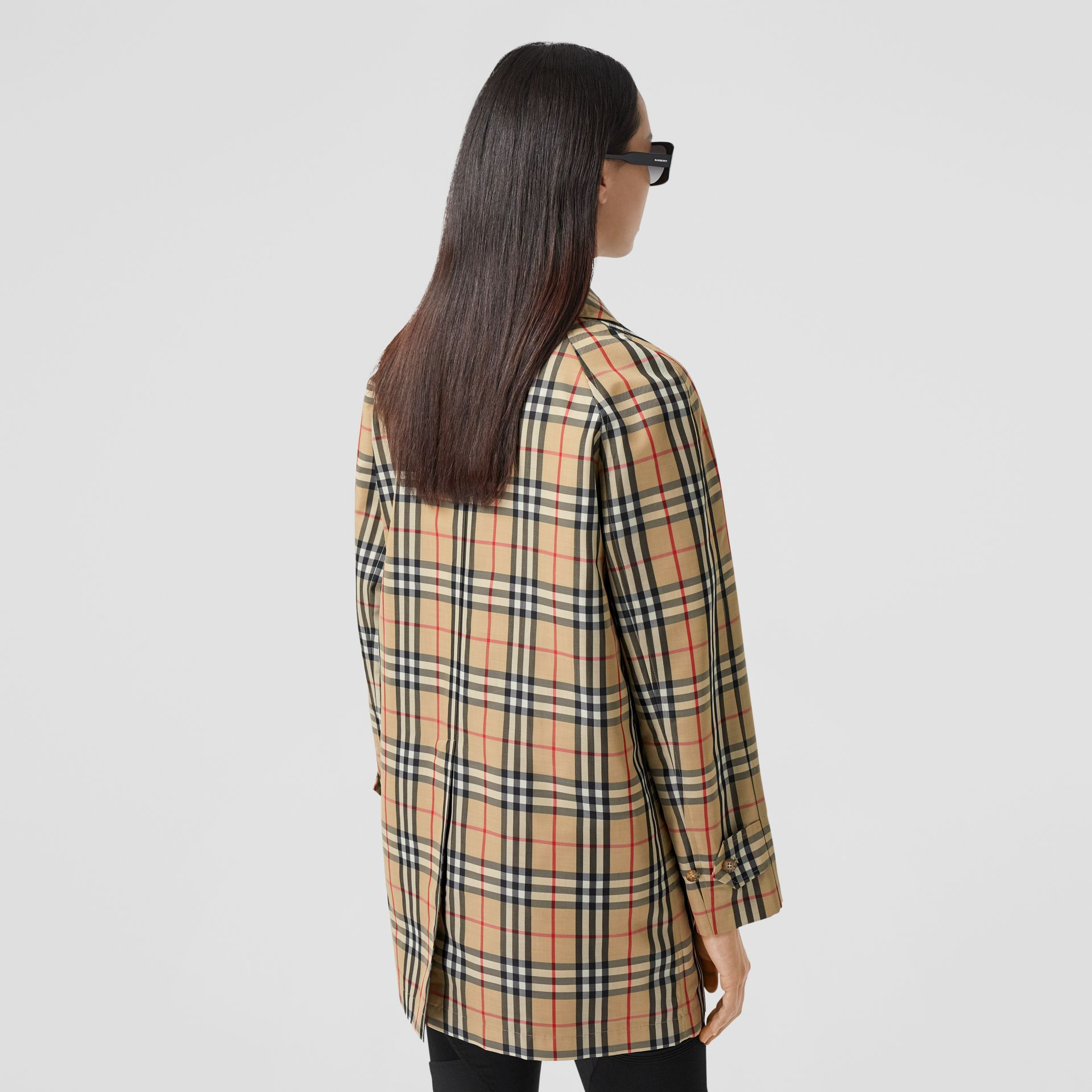 Vintage Check Recycled Polyester Car Coat in Archive Beige - Women | Burberry United States - gallery image 2