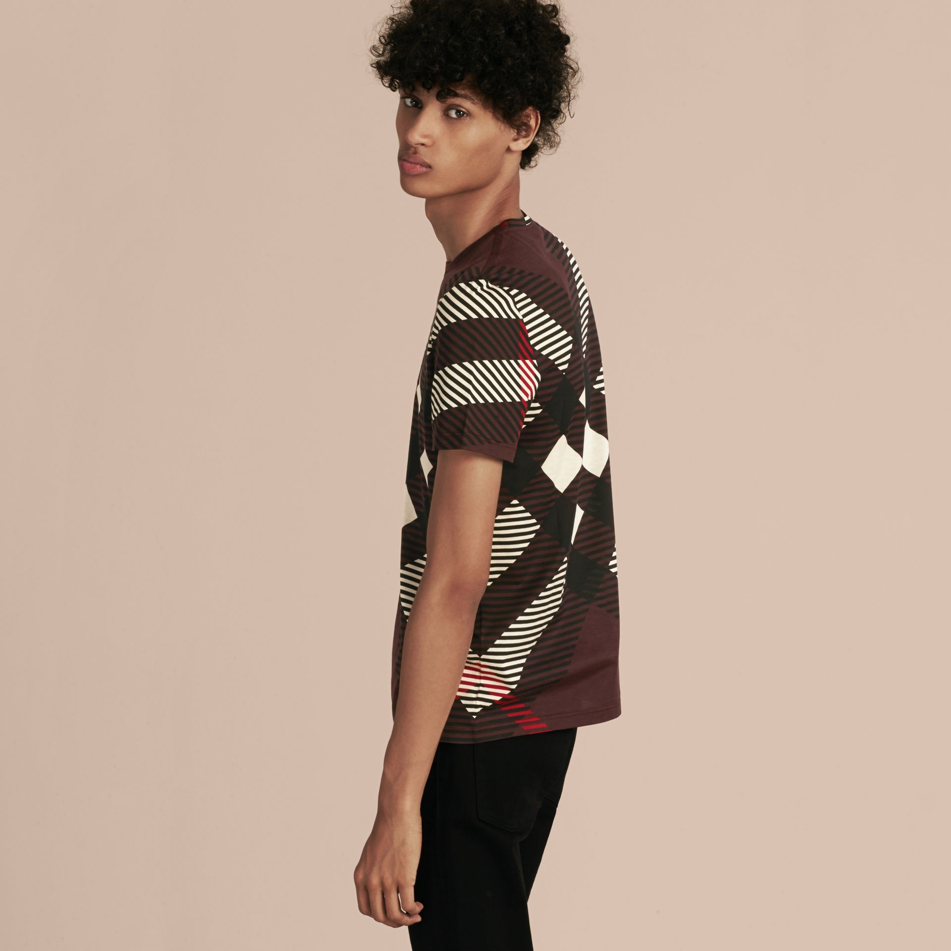 Deep claret Abstract Check Cotton T-Shirt - gallery image 3