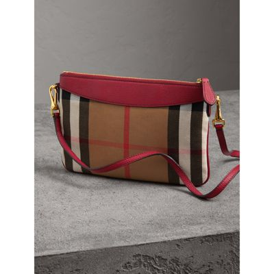 Burberry - Clutch en coton House check et cuir - 5