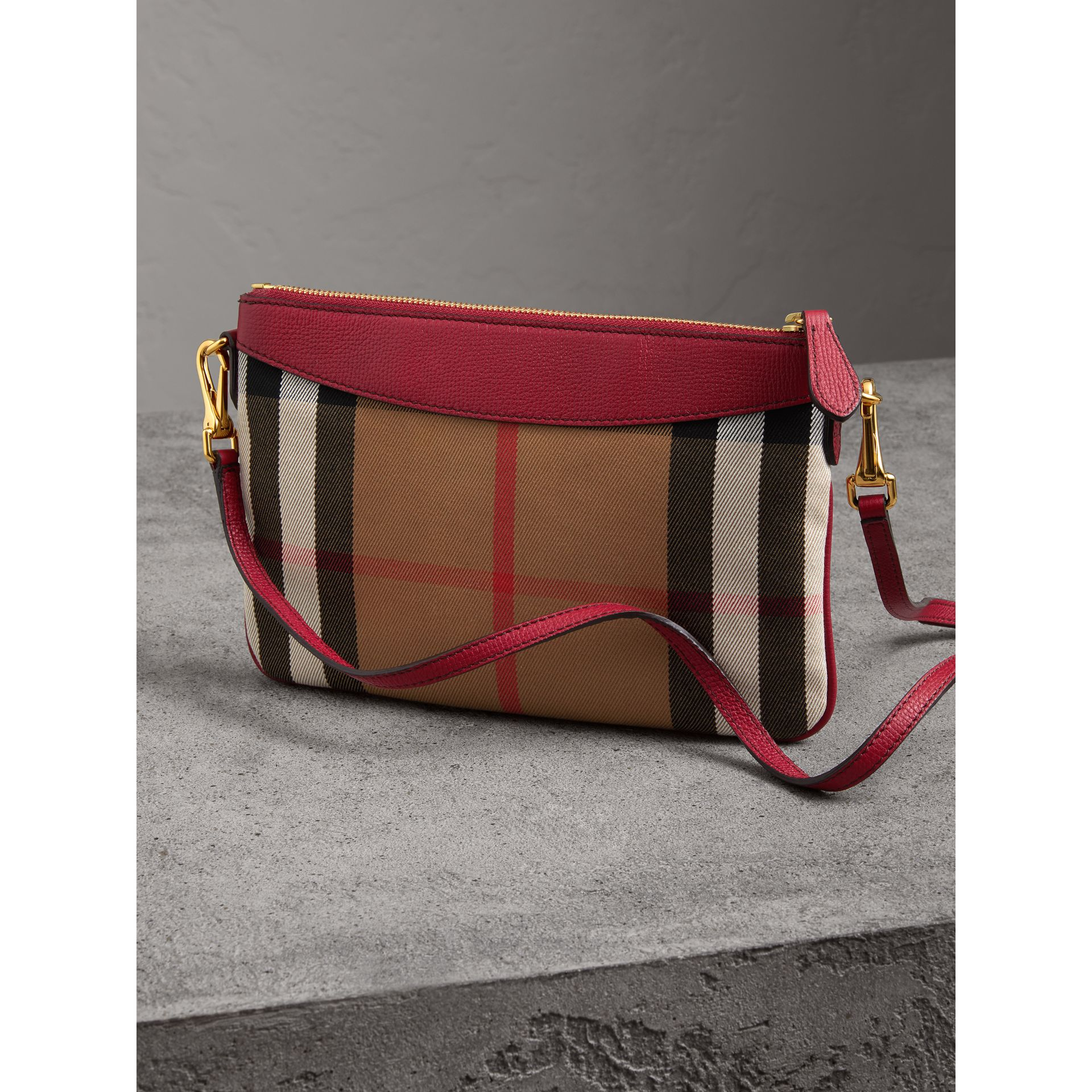 House Check and Leather Clutch Bag in Military Red - Women | Burberry Australia - gallery image 3