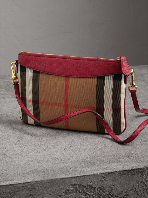 House Check and Leather Clutch Bag in Military Red - Women | Burberry - cell image 2