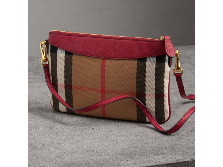 House Check and Leather Clutch Bag in Military Red - Women | Burberry - cell image 4