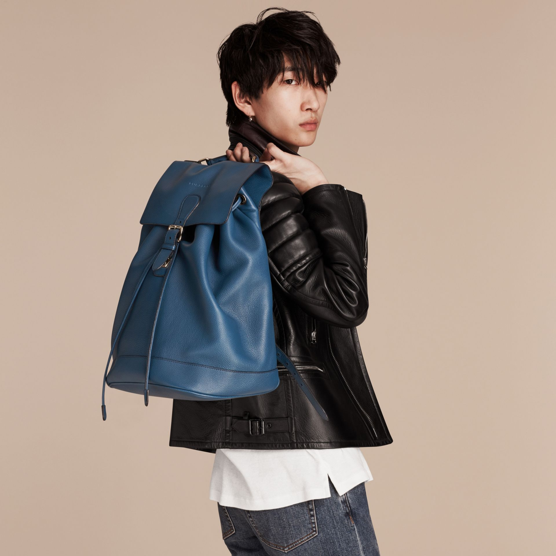 Mineral blue Grainy Leather Backpack Mineral Blue - gallery image 3