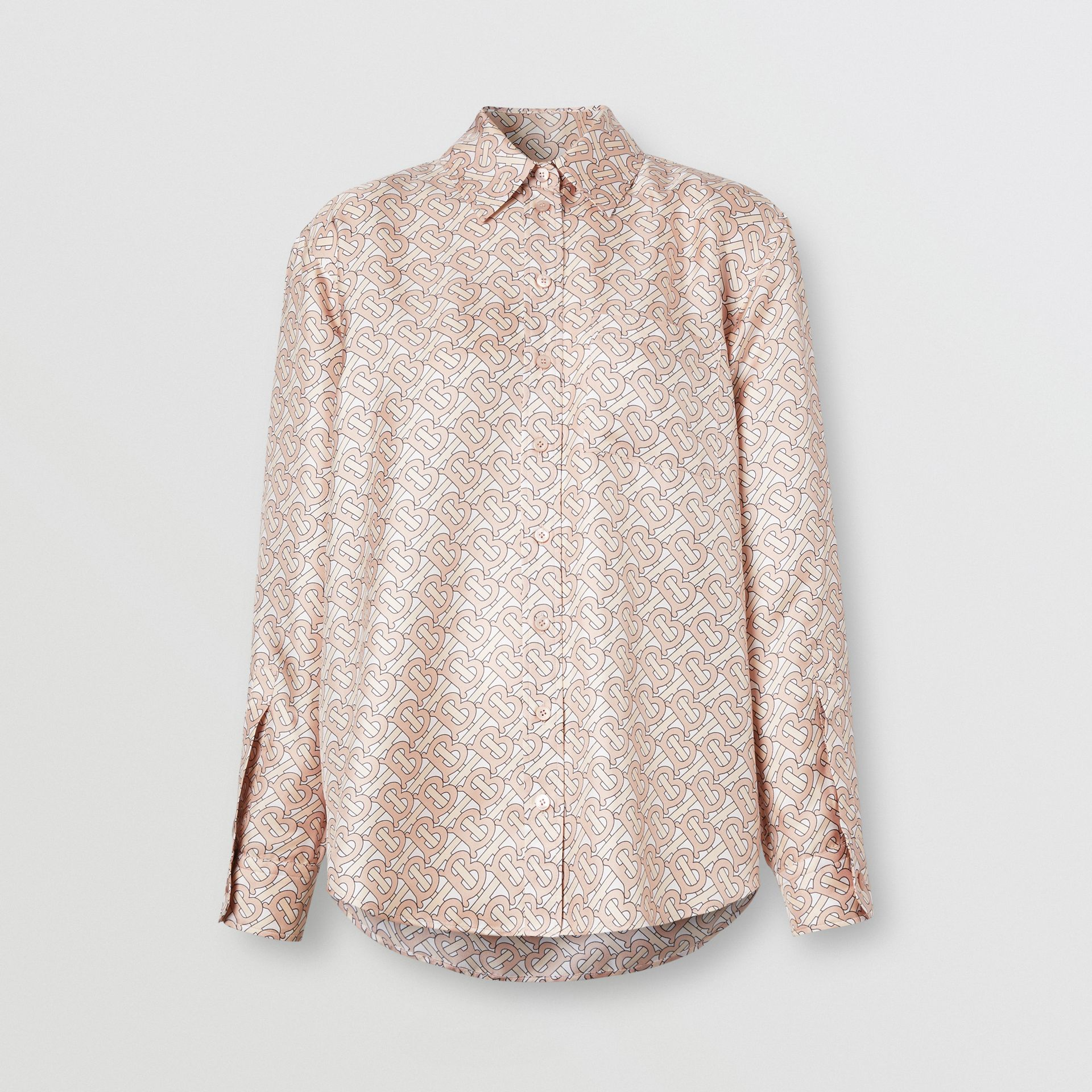 Monogram Print Silk Twill Shirt in Pale Copper Pink - Women | Burberry - gallery image 3