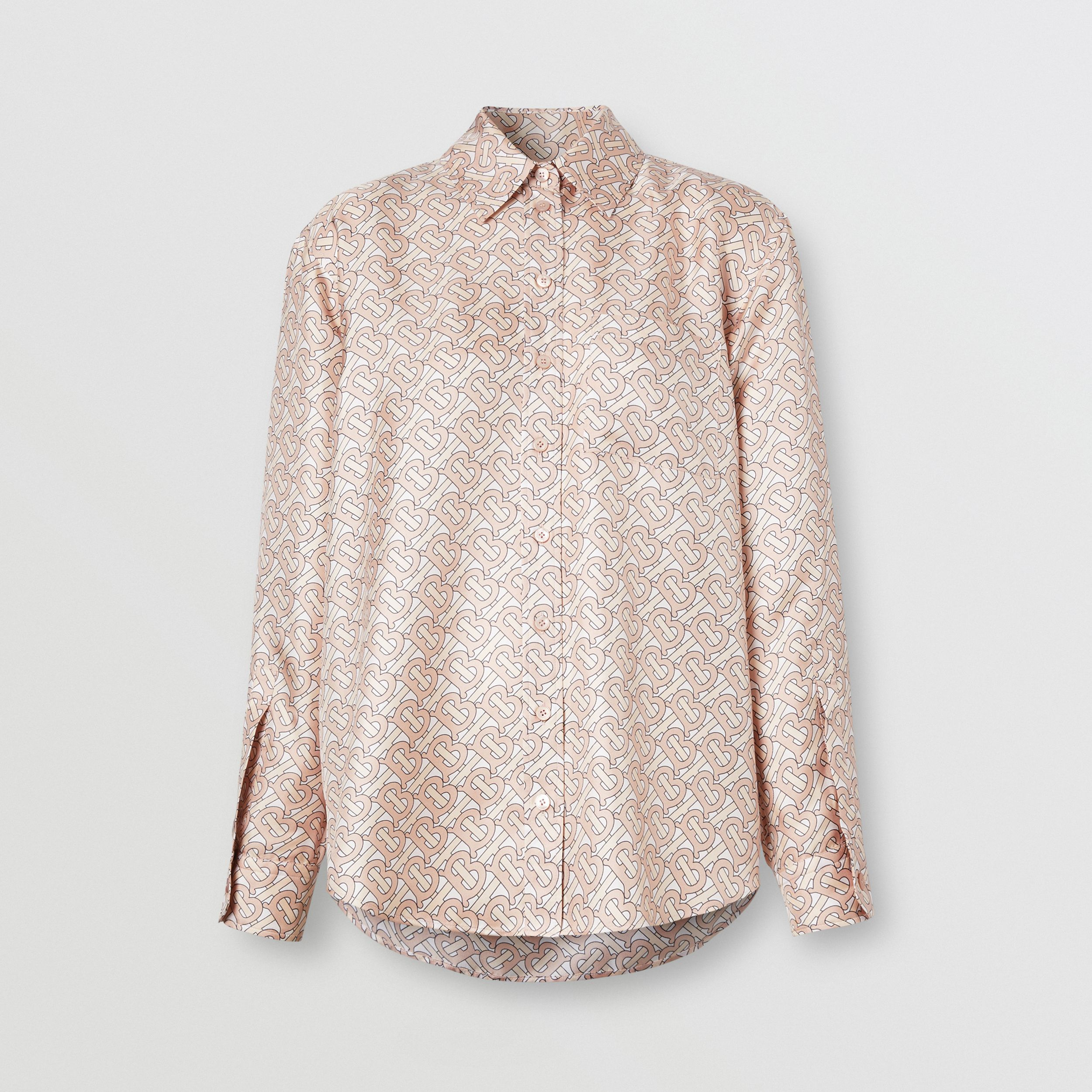 Monogram Print Silk Twill Shirt in Pale Copper Pink - Women | Burberry - 4