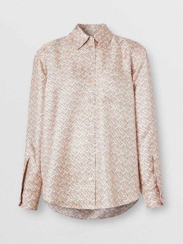Monogram Print Silk Twill Shirt in Pale Copper Pink - Women | Burberry - cell image 3