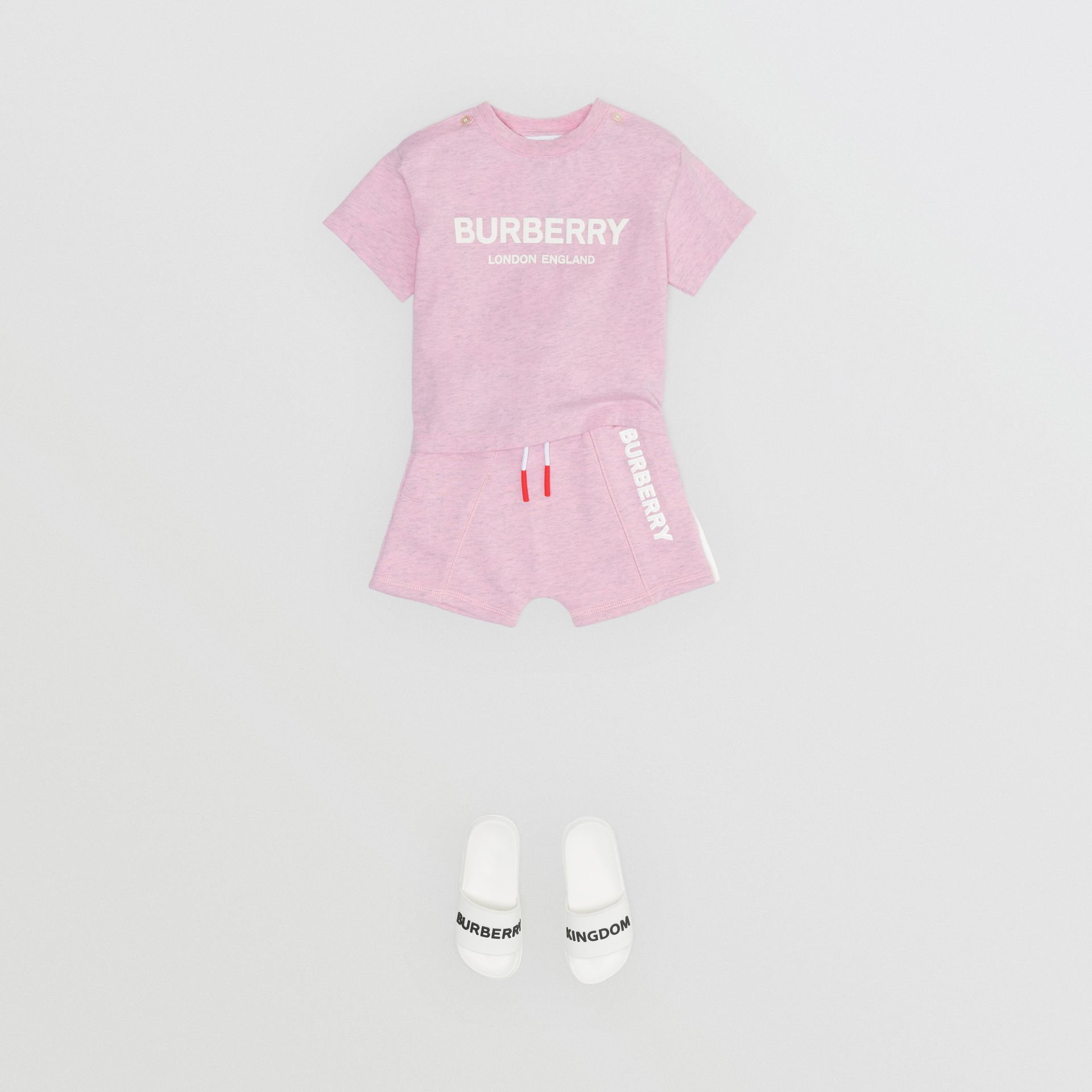 Logo Print Cotton T-shirt in Pale Neon Pink - Children | Burberry - gallery image 2
