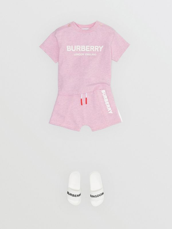 Logo Print Cotton T-shirt in Pale Neon Pink - Children | Burberry - cell image 2