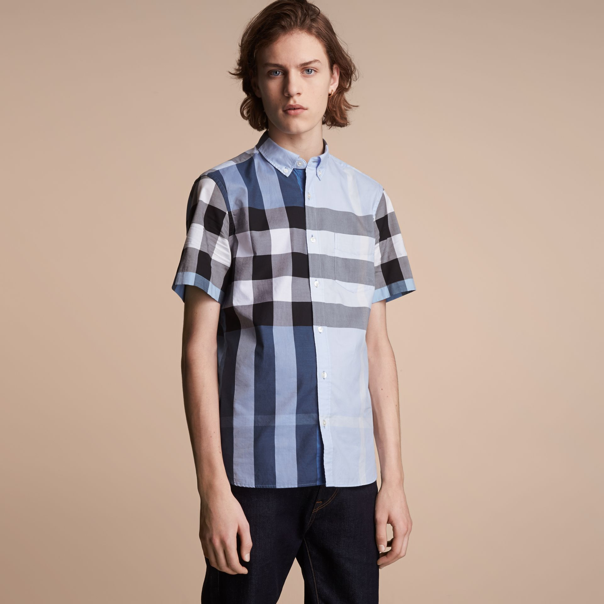 Button-down Collar Short-sleeve Check Cotton Shirt in Lupin Blue - Men | Burberry Singapore - gallery image 6