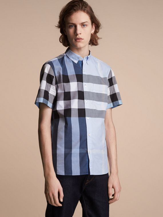 Button-down Collar Short-sleeve Check Cotton Shirt in Lupin Blue - Men | Burberry