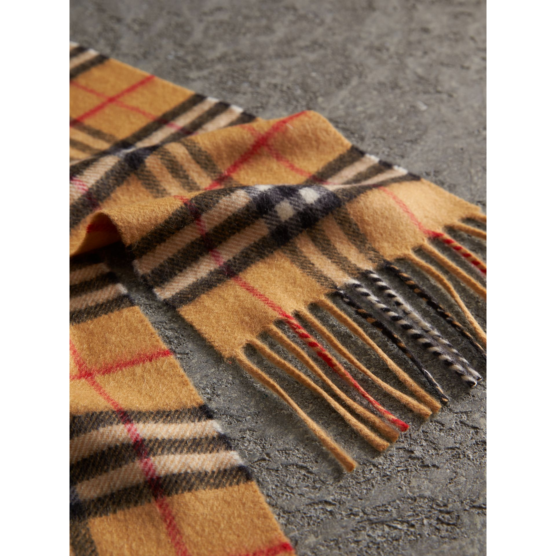 Long Vintage Check Cashmere Scarf in Antique Yellow | Burberry United Kingdom - gallery image 1