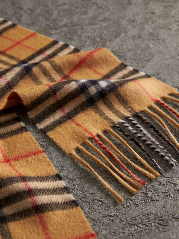 Long Vintage Check Cashmere Scarf in Antique Yellow | Burberry - cell image 1