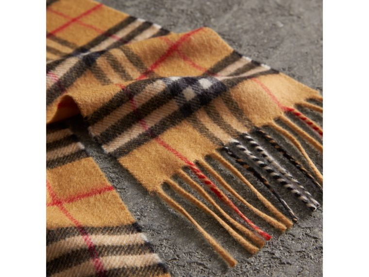 Long Vintage Check Cashmere Scarf in Antique Yellow | Burberry United Kingdom - cell image 1