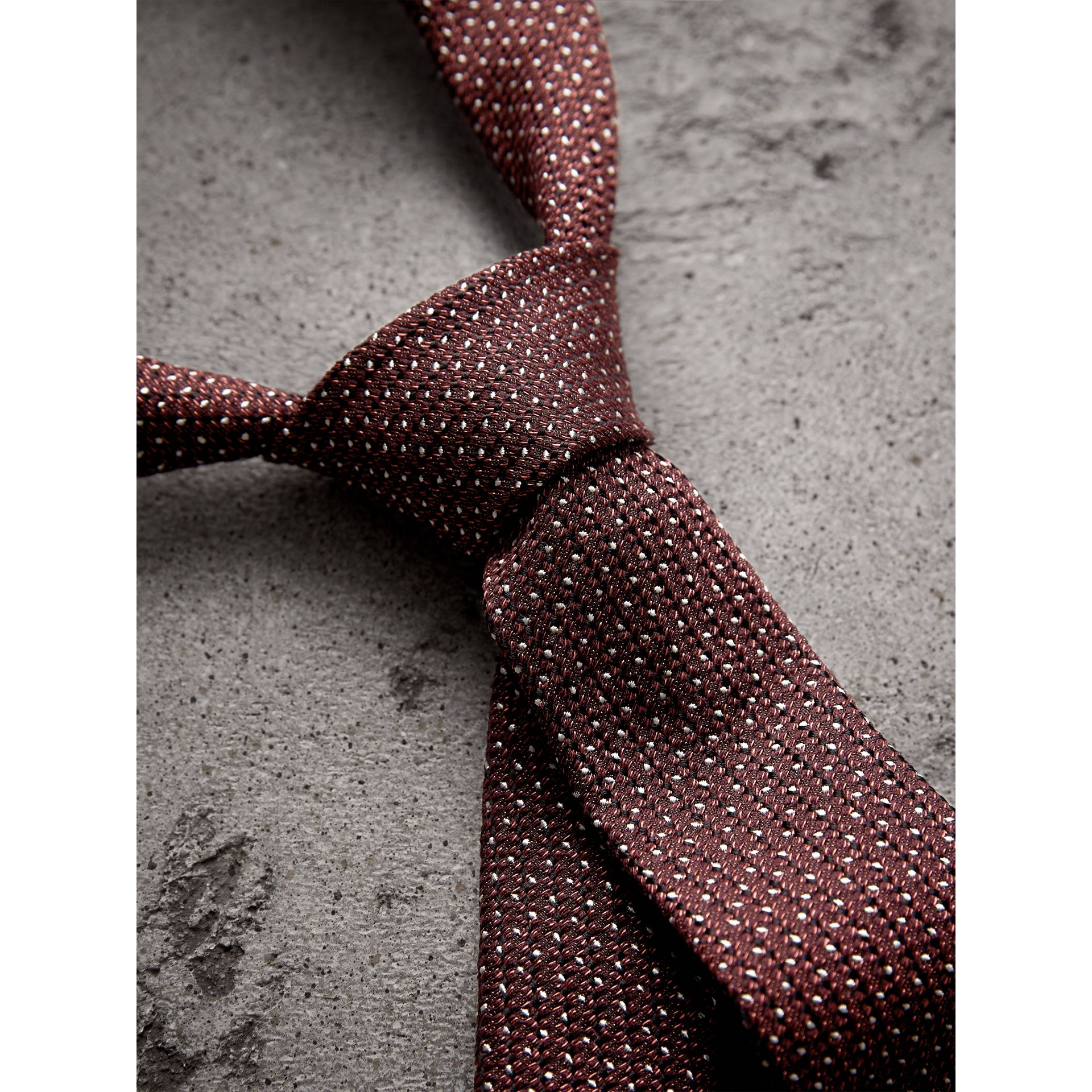 Slim Cut Pinpoint Wool Silk Tie in Cinnamon - Men | Burberry - gallery image 2