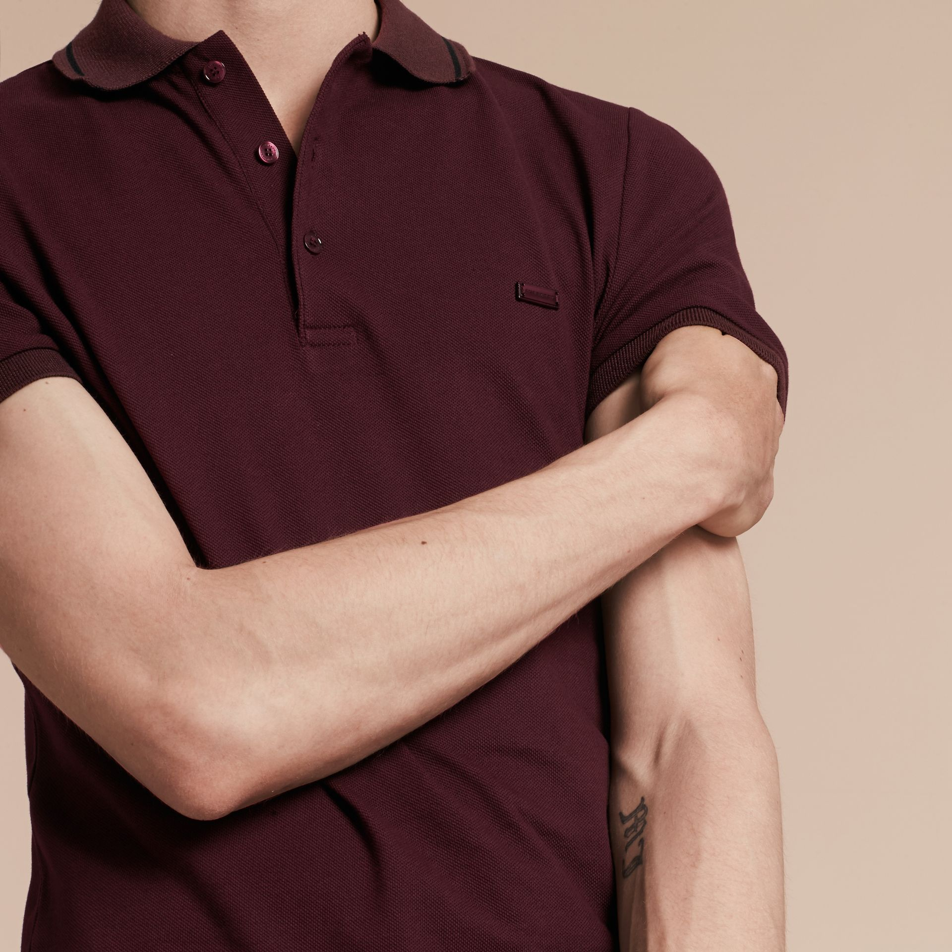 Burgundy red/black Contrast Trim Cotton Piqué Polo Shirt Burgundy Red/black - gallery image 5