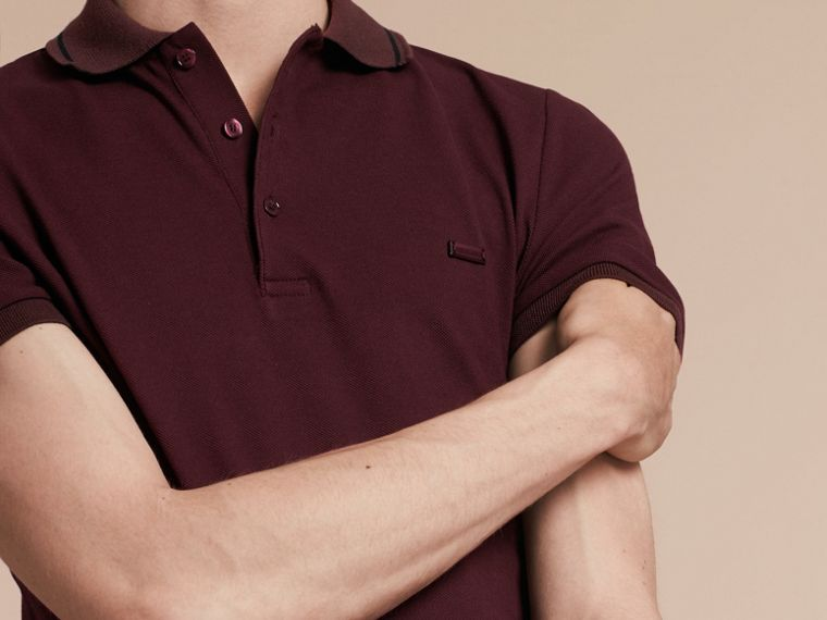 Burgundy red/black Contrast Trim Cotton Piqué Polo Shirt Burgundy Red/black - cell image 4