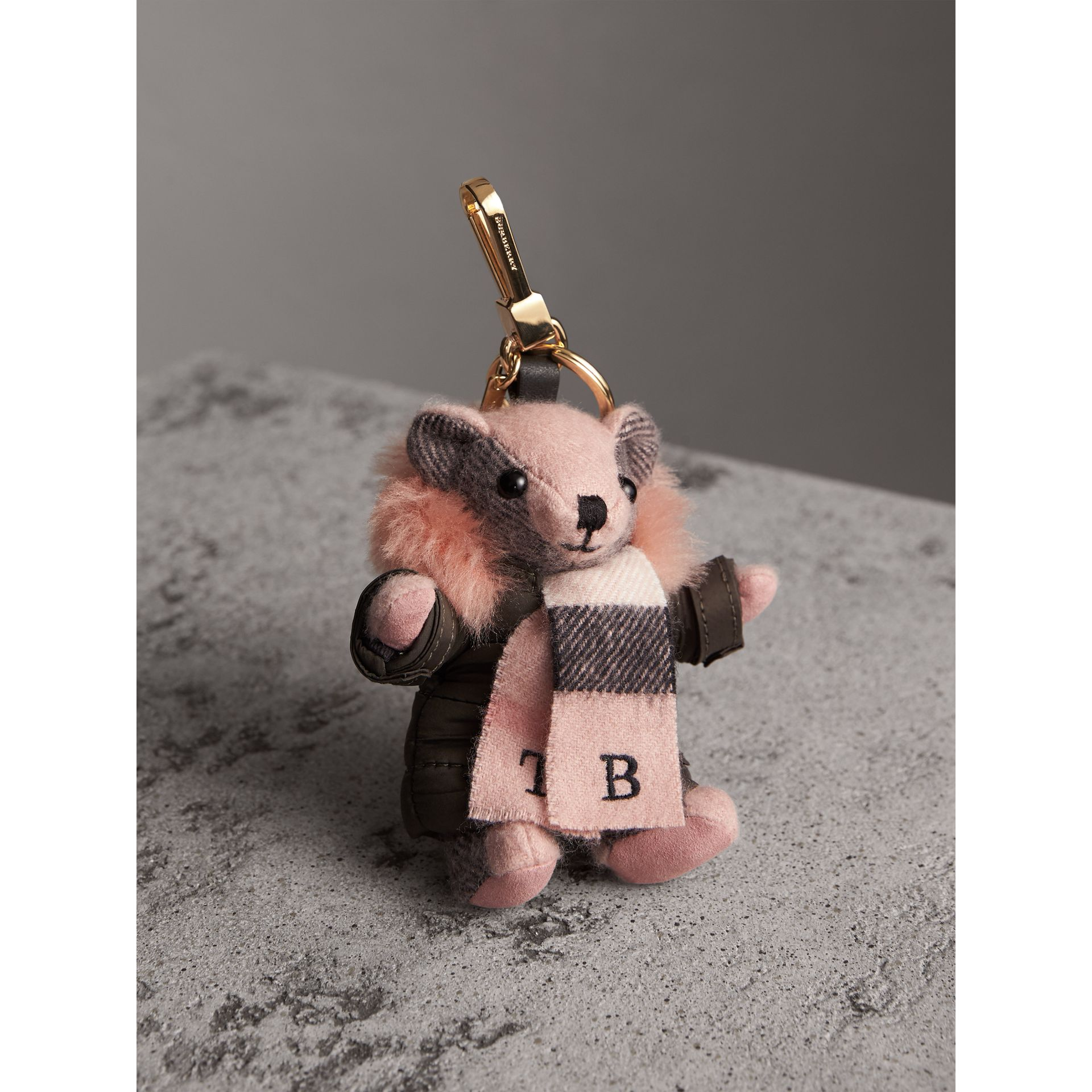 Thomas Bear Charm in Puffer Coat and Scarf in Ash Rose - Women | Burberry - gallery image 1