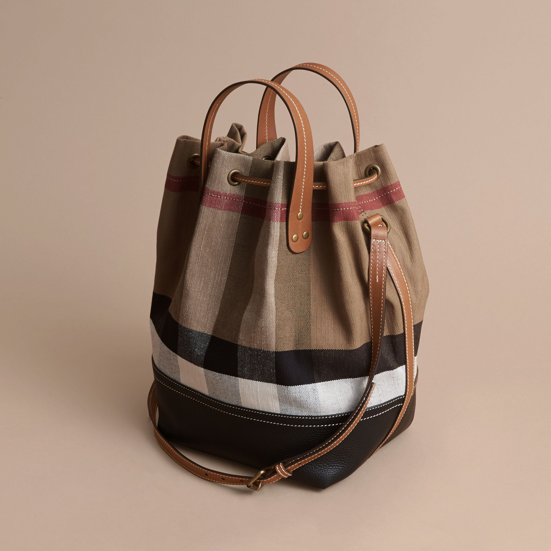 Canvas Check Bucket Bag - gallery image 4