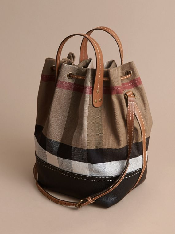 Canvas Check Bucket Bag - cell image 3