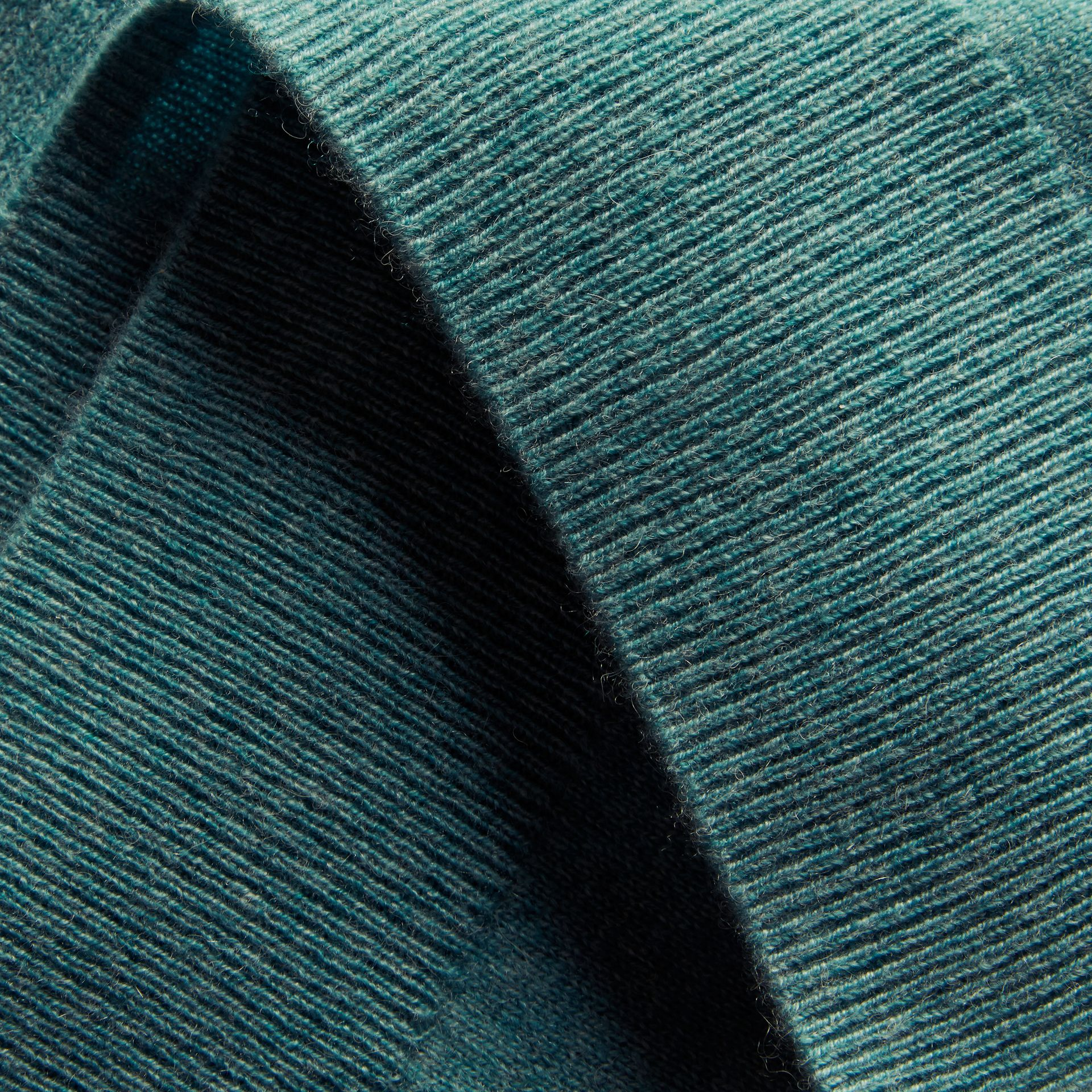 Puff-sleeved Cashmere Sweater in Dusty Teal - gallery image 2