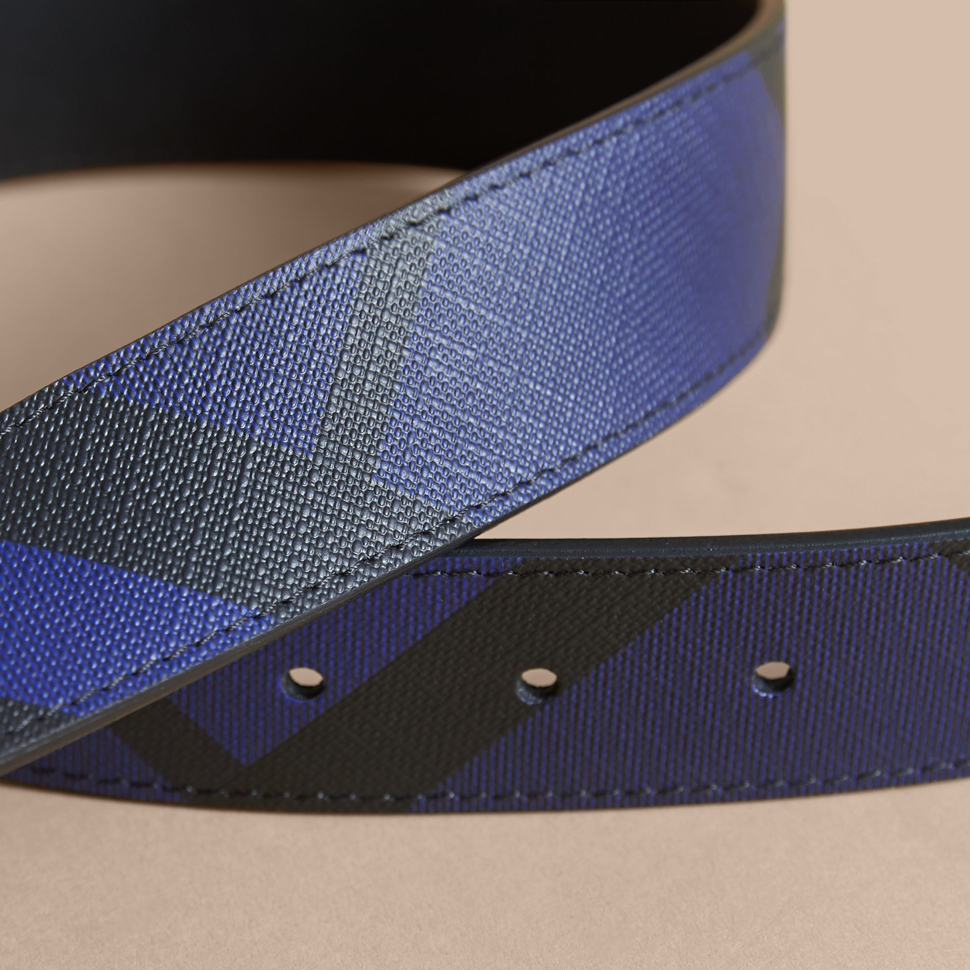 Reversible London Check and Leather Belt Bright Lapis/black - gallery image 2