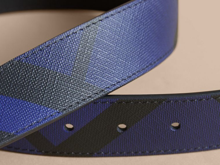 Reversible London Check and Leather Belt Bright Lapis/black - cell image 1