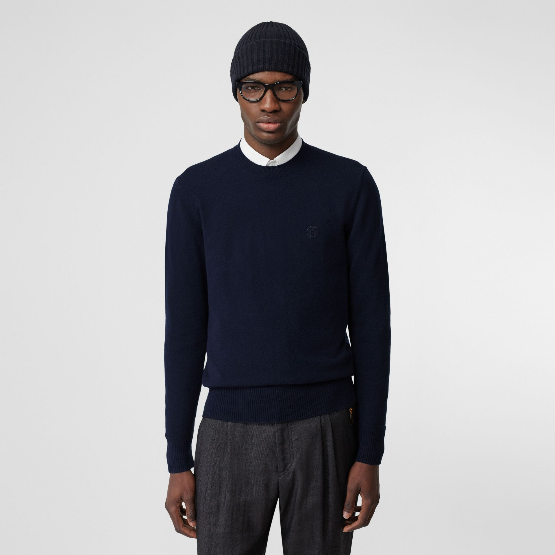 Monogram Motif Cashmere Sweater in Navy - Men | Burberry - gallery image 4