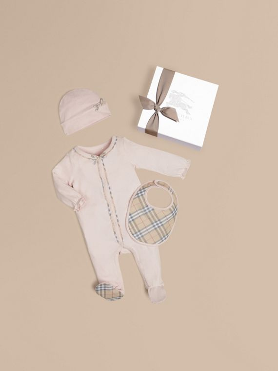 Check Cotton Three-piece Baby Gift Set in Powder Pink - Girl | Burberry Australia