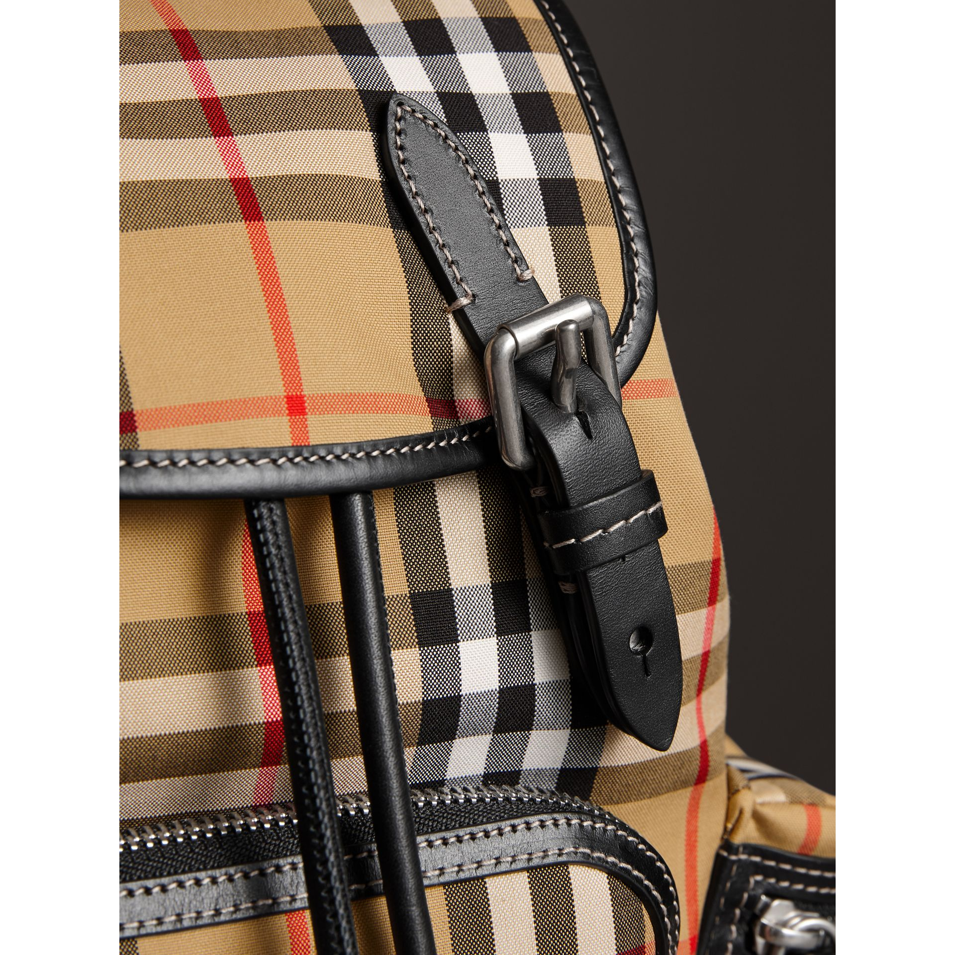 The Crossbody Rucksack in Vintage Check and Leather in Antique Yellow - Women | Burberry - gallery image 1